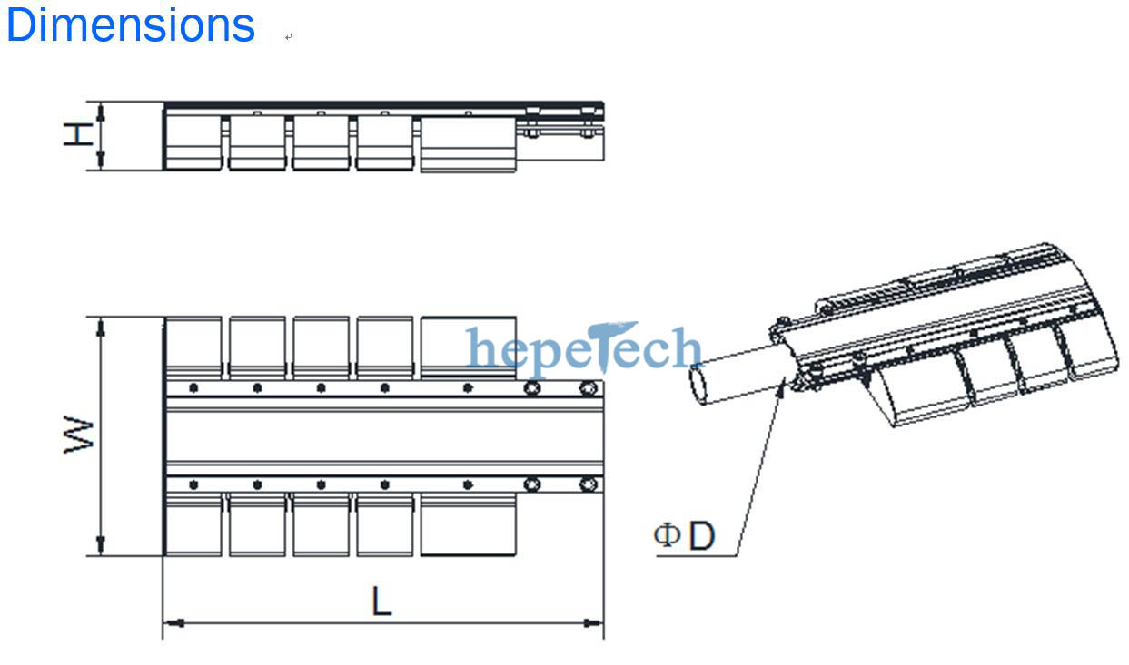 led module street light dimensions